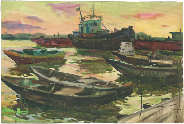 Alexandrovich Rudolf Pavlov. Series of watercolors Astrakhan, No. 5. Boats.