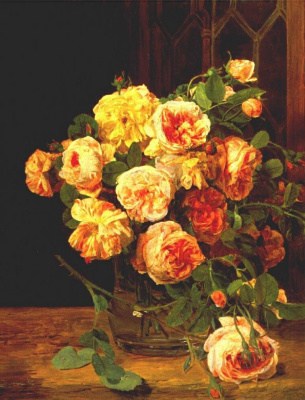 Ferdinand Georg Waldmüller. Roses by the window