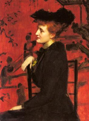 Джон Генри Хадсон. Портрет женщины в черной шляпе