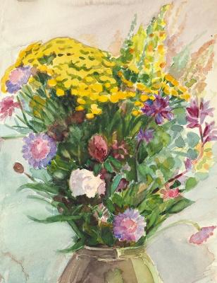 Елена Дмитриевна Чичагова-Россинская. Букет полевых цветов с пижмой. 1940-е