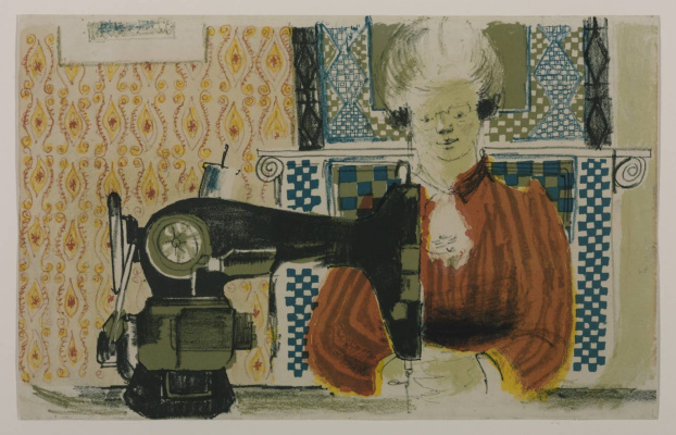 David Hockney. A woman with a sewing machine