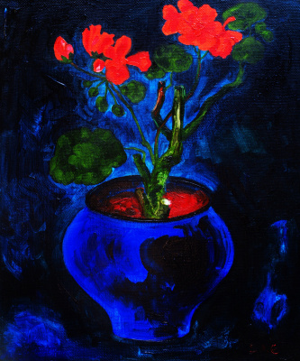 Alexander Ocher Kandinsky-DAE. Geranium in dark blue the pot
