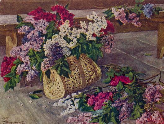 Petr Petrovich Konchalovsky. Lilacs in a purse on the floor