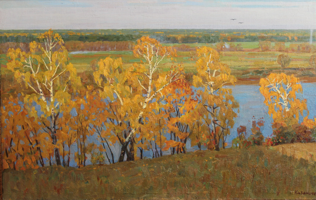 Eugene Alexandrovich Kazantsev. On the Oka. Golden autumn.