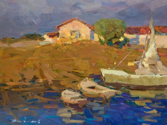 Федор Захарович Захаров. The pier in the evening