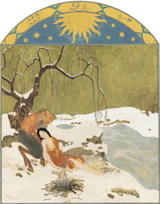 Edmund Dulac. Times of the year. Winter. gold