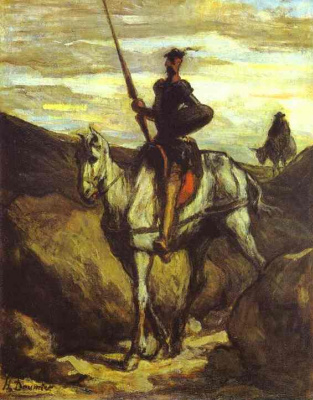 Honore Daumier. Knight on a white horse