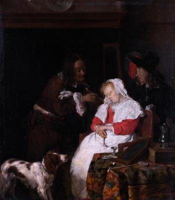 Габриель Метсю. Двое мужчин со спящей женщиной