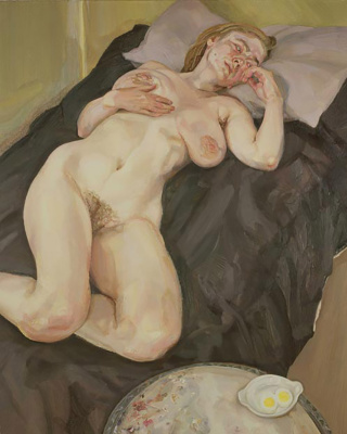 Люсьен Фрейд. Обнаженная девушка и яйца