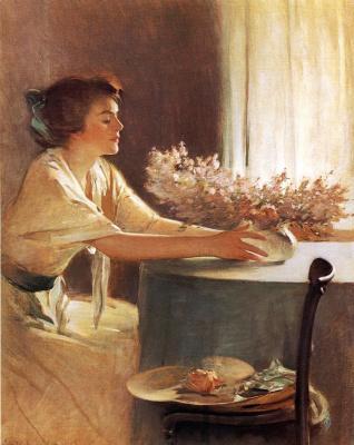 Джон Уайт Александер. Женщина с луговыми цветами