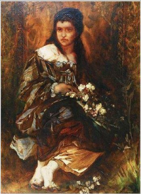 Hans Makart. Sitting girl with flowers