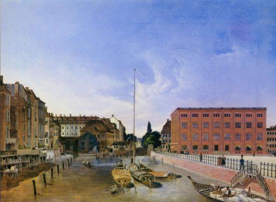 Фридрих Вильгельм Клозе. Городской пейзаж с мельницами