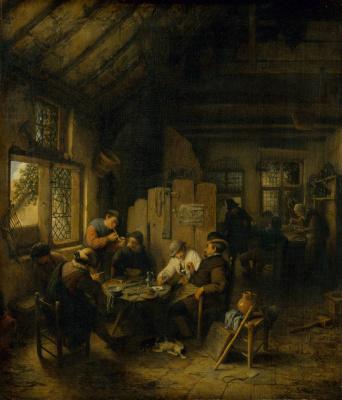Adrian Jans van Ostade. In the village tavern