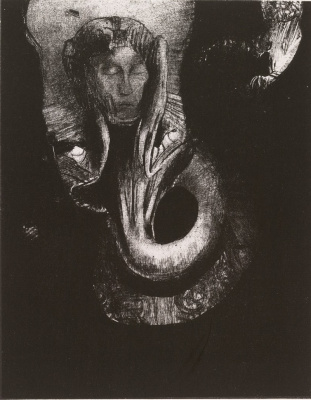 Odilon Redon. The Temptation of Saint Anthony series: Oannes: I, the first consciousness of Chaos, rose from the abyss to compact matter to order forms