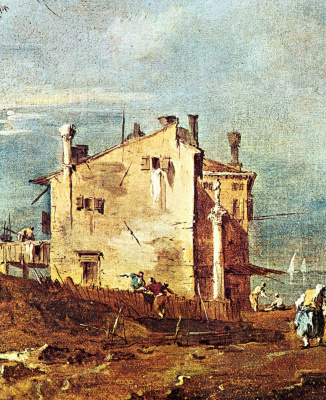 Capriccio: ruins of arcades and peasants ' houses on the Lagoon, a fragment