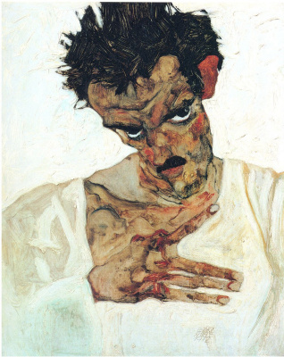 Egon Schiele. Self-portrait with her head bowed