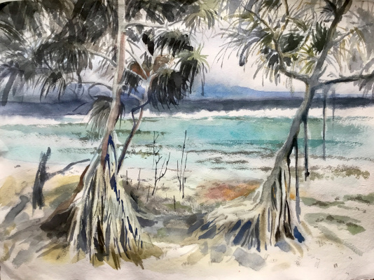 Anastasia Volkova. Trees with legs on the seashore