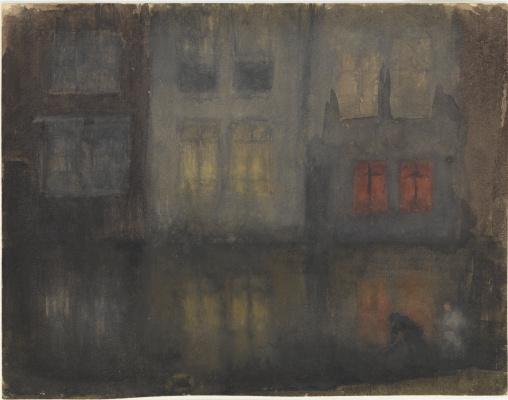 James Abbot McNeill Whistler. Nocturne: Black and Red - Reverse Channel, Holland