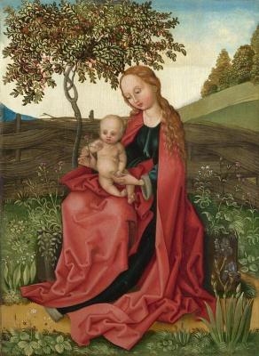 Martin Schongauer. The Madonna and child in a garden