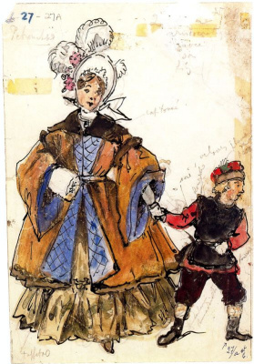 "Alexander Nikolaevich Benoit. An elegant lady with her son. Costume design for the ballet by I. Stravinsky ""Petrushka"""