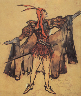 """Mephistopheles. Costume design for the Opera of A. Boito's """"Faust"""""""