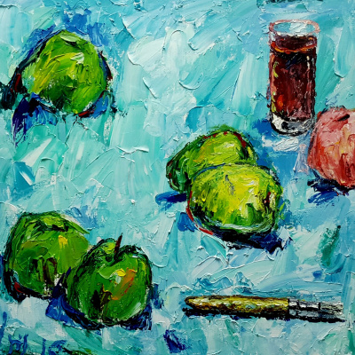 Yuri Leonardovich Uzhdavini. Apples wine brush