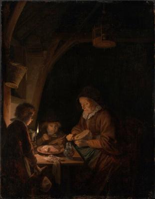 Gerrit (Gerard) Dow. Old woman cutting bread