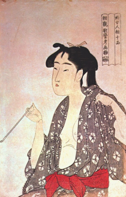 Kitagawa Utamaro. Smoking woman