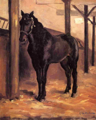 Gustave Caillebotte. Hierro., dark horse in the stall in the Gulf