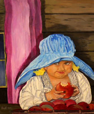 Vladimir Adamovich Ropot. Girl with apple