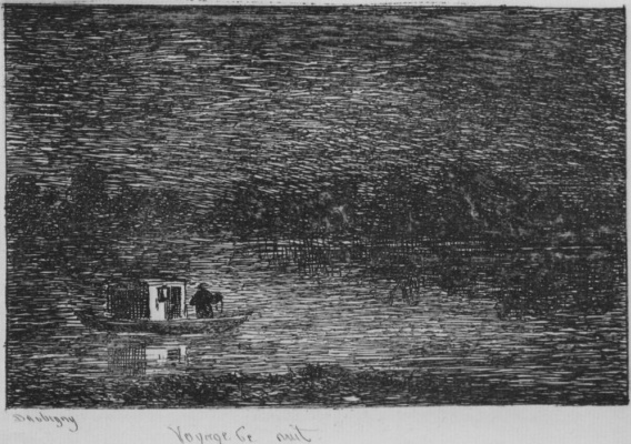 Charles-Francois Daubigny. Series Album journey in the boat, the Night journey, or Fishing nets, the first state