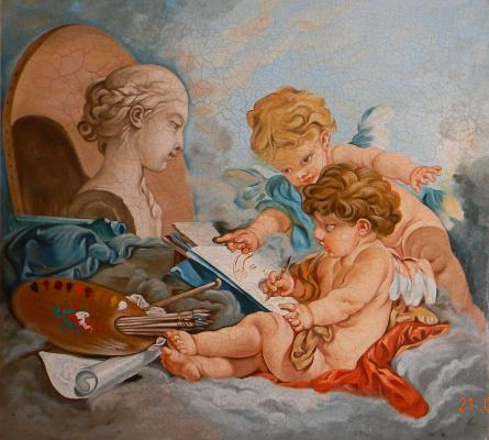 """Александра Демидова. Копия картины Франсуа Буше """"Амуры: аллегория живописи"""", кракелюр."""