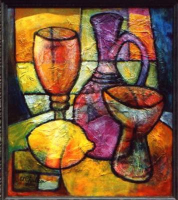 Натюрморт с лимоном и фиолетовым кувшином
