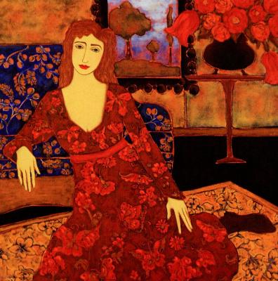 Женщина с красными цветами и вечернем пейзаже