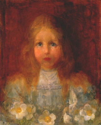 Piet Mondrian. Portrait of girl with flowers
