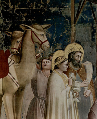 Giotto di Bondone. The adoration of the Magi to the Christ child, detail