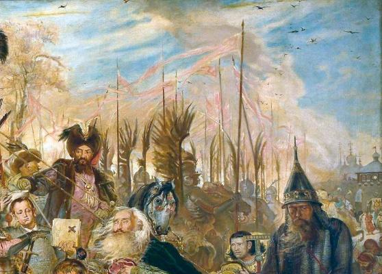 Jan Matejko. Stephen Batory near Pskov. Fragment. White-red-white flags