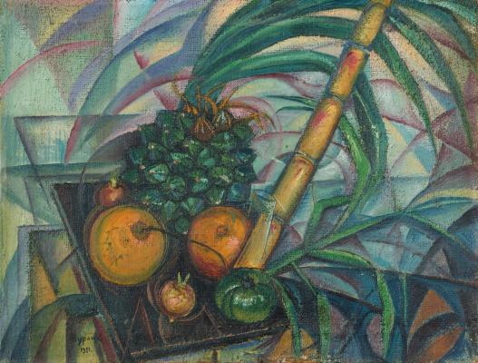 Натюрморт с плодом пандана и ветками бамбука