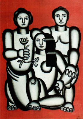 Fernand Leger. Three women on a red background