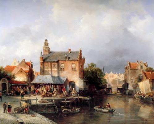 Жак Карабаин. Вид на город в Голландии