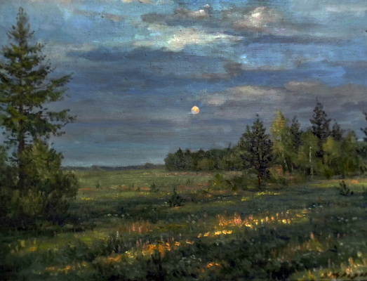 Victor Vladimirovich Kuryanov. Evening is extinguished, and the moon is lit in the sky