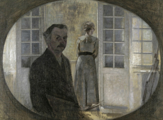 Vilhelm Hammershøi. Self-portrait of the artist and his wife through the mirror