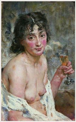 Hans Heyerdahl. The girl with champagne