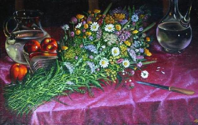 Владимир Васильевич Абаимов. Still-life with the Jugs and Wildflowers