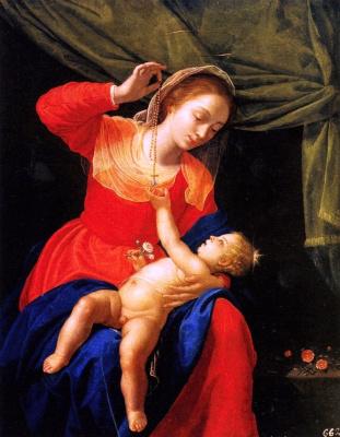 Артемизия Джентилески. Мадонна с младенцем в розовом саду