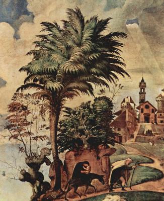 Пьеро ди Козимо. Мария со святыми, деталь: Бегство в Египет
