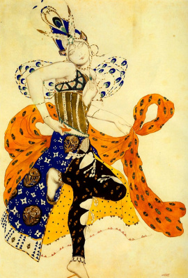 "Lev Samoilovich Bakst (Leon Bakst). Costume design of the Peri for the ballet Field Duke ""Peri"""