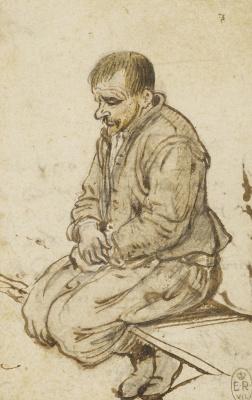 Хендрик Аверкамп. Крестьянин, сидящий на скамейке