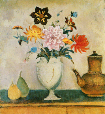 Balthus (Balthasar Klossovsky de Rola). Still life with flowers and coffee pot