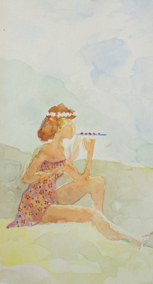 Anatoly Vasilievich Smagin. Девушка с флейтой